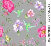 embroidery trend floral... | Shutterstock .eps vector #1104721253