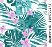 exotic tropical floral greenery ... | Shutterstock .eps vector #1104732173