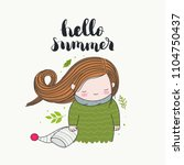 hello summer   handwritten... | Shutterstock .eps vector #1104750437