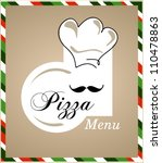 pizza chef menu - stock vector