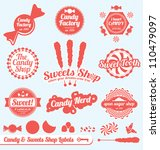 Vector Set: Candy Shop Labels and Stickers with Silhouette Graphics