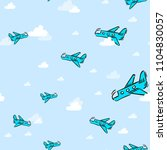 airplane in clouds pattern | Shutterstock . vector #1104830057