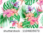 floral tropical vector seamless ... | Shutterstock .eps vector #1104835073