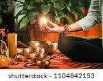 meditation ball in sound therapy | Shutterstock . vector #1104842153