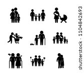 9 family icons vector set. dad  ... | Shutterstock .eps vector #1104842693