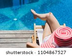 woman is sitting in a chair... | Shutterstock . vector #1104867527