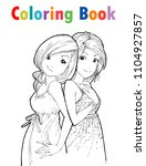coloring book cute cartoon girl ... | Shutterstock .eps vector #1104927857