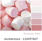 Marshmallow background colour palette with complimentary swatches. - stock photo