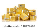 Stack of presents on white background - stock photo