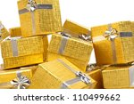 Gold gift boxes - stock photo