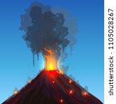 Vector Volcano Eruption. Hot...