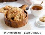 homemade peanut cookies in a... | Shutterstock . vector #1105048073