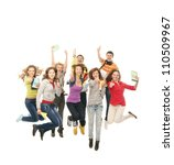 Group of smiling teenagers jumping together and looking at camera isolated on white - stock photo