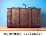 vintage wooden suitcase on... | Shutterstock . vector #1105102817
