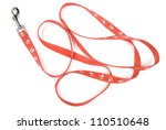 Red nylon dog lead or leash with paw print pattern isolated over white - stock photo