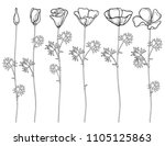 vector set with outline... | Shutterstock .eps vector #1105125863