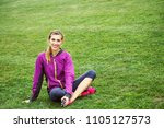 sporty athletic woman doing... | Shutterstock . vector #1105127573