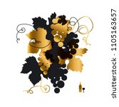 black and gold grape silhouette ... | Shutterstock .eps vector #1105163657