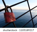 love padlock hearth sea endless | Shutterstock . vector #1105189217