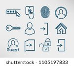 authorization line icons set ... | Shutterstock .eps vector #1105197833