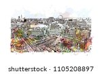 aerial view of london city.... | Shutterstock .eps vector #1105208897