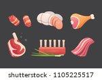 set fresh meat products. steak... | Shutterstock .eps vector #1105225517