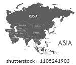 political asia map vector... | Shutterstock .eps vector #1105241903