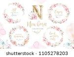 watercolor boho floral wreath.... | Shutterstock . vector #1105278203