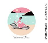 people vacation on the sea...   Shutterstock .eps vector #1105291373