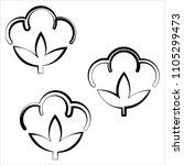cotton flower icon  cotton ball ... | Shutterstock .eps vector #1105299473