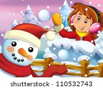 the cartoon snow fight with... | Shutterstock . vector #110532743