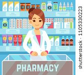 happy young woman pharmacist... | Shutterstock .eps vector #1105330223