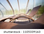 several sun loungers around the ... | Shutterstock . vector #1105339163