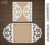 laser cut wedding invitation...   Shutterstock .eps vector #1105345973