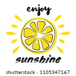 juicy lemon. summer poster  ...   Shutterstock .eps vector #1105347167