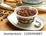 portion of tiramisu in the cup  ... | Shutterstock . vector #1105404887
