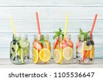 fresh lemonade jar with summer... | Shutterstock . vector #1105536647
