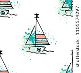 childish drawing yacht... | Shutterstock .eps vector #1105574297