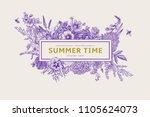 summer time. vector vintage... | Shutterstock .eps vector #1105624073