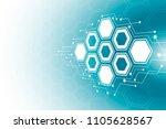 abstract hexagonal molecular...   Shutterstock .eps vector #1105628567