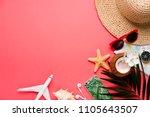 traveler accessories on trendy... | Shutterstock . vector #1105643507