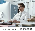 confident business executive... | Shutterstock . vector #1105680257