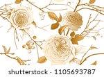 english garden roses  berries...   Shutterstock .eps vector #1105693787