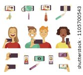 various tools and accessories...   Shutterstock .eps vector #1105700543