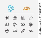 meal icons set. biscuit and...