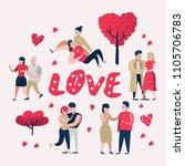 couple in love cartoon... | Shutterstock .eps vector #1105706783