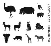 different animals black icons... | Shutterstock . vector #1105710077