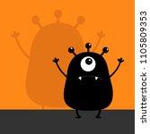 monster black silhouette... | Shutterstock .eps vector #1105809353