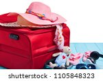 travel concept with big red... | Shutterstock . vector #1105848323