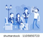 hang out party. group of young... | Shutterstock .eps vector #1105850723
